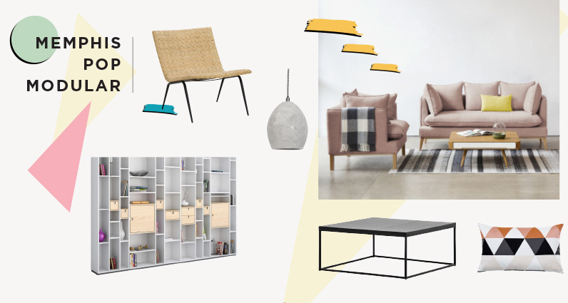 Collage der Möbeltrends 2016 - Memphis-Design, Pop, Modular